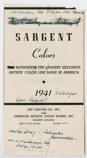 Primary view of object titled '[Advertisment from Sargent Colors]'.