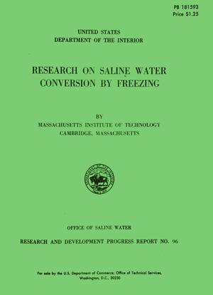 Primary view of object titled 'Research on Saline Water Conversion by Freezing'.
