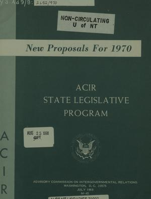 Primary view of object titled 'New Proposals For 1970 : ACIR state legislative program'.