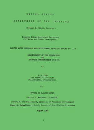 Bibliography of the Literature on Dropwise Condensation 1930-64
