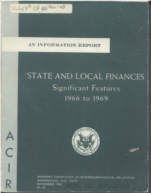 Primary view of object titled 'State and local finances, significant features, 1966 to 1969'.