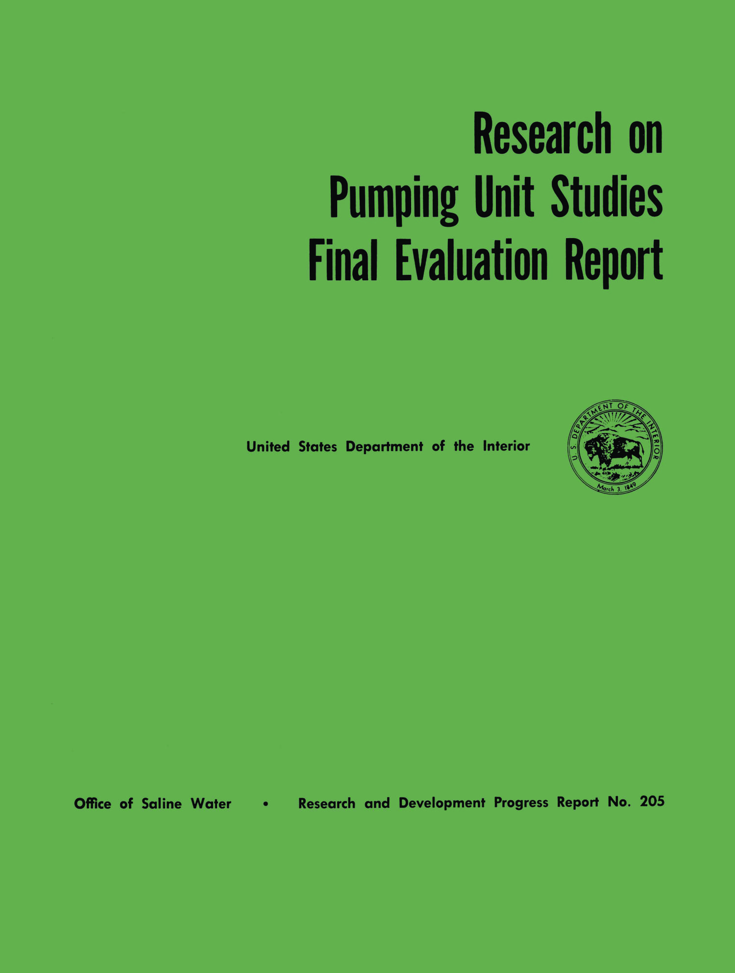 Research on Pumping Unit Studies: Final Evaluation Report                                                                                                      I