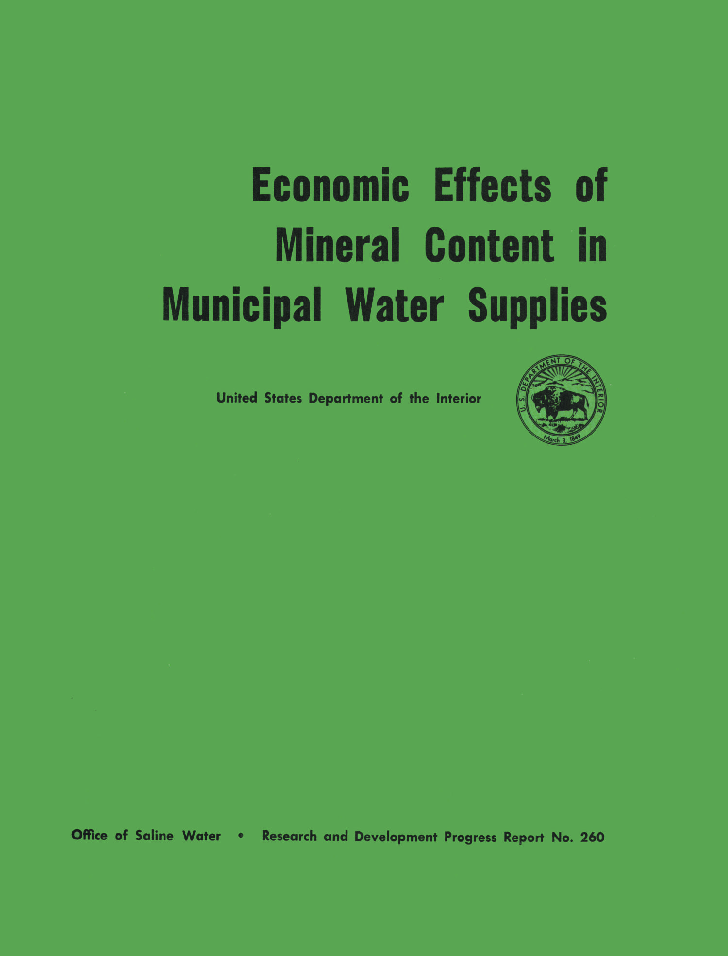 Economic Effects of Mineral Content in Municipal Water Supplies                                                                                                      I