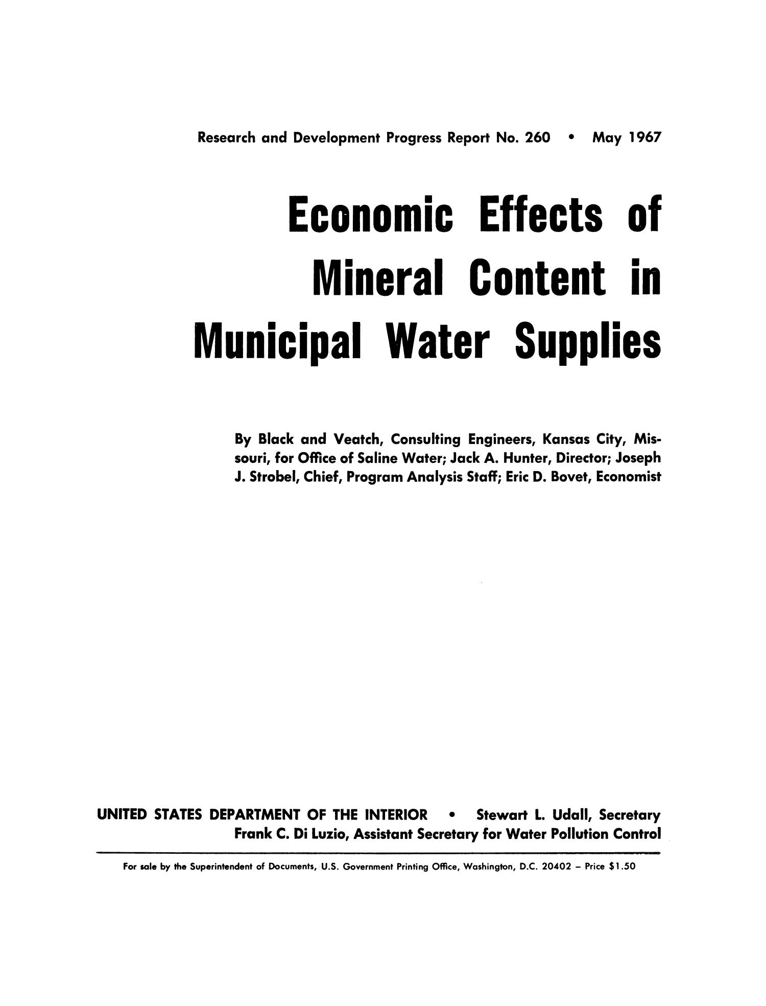 Economic Effects of Mineral Content in Municipal Water Supplies                                                                                                      Ia