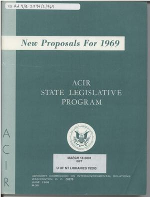 Primary view of object titled 'New Proposals For 1969 : ACIR state legislative program'.