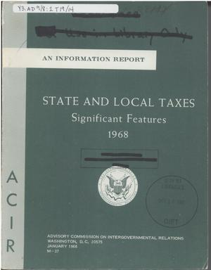Primary view of object titled 'State and local taxes: significant features, 1968'.
