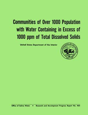 Communities of Over 1000 Population With Water Containing in Excess of 1000 ppm of Total Dissolved Solids