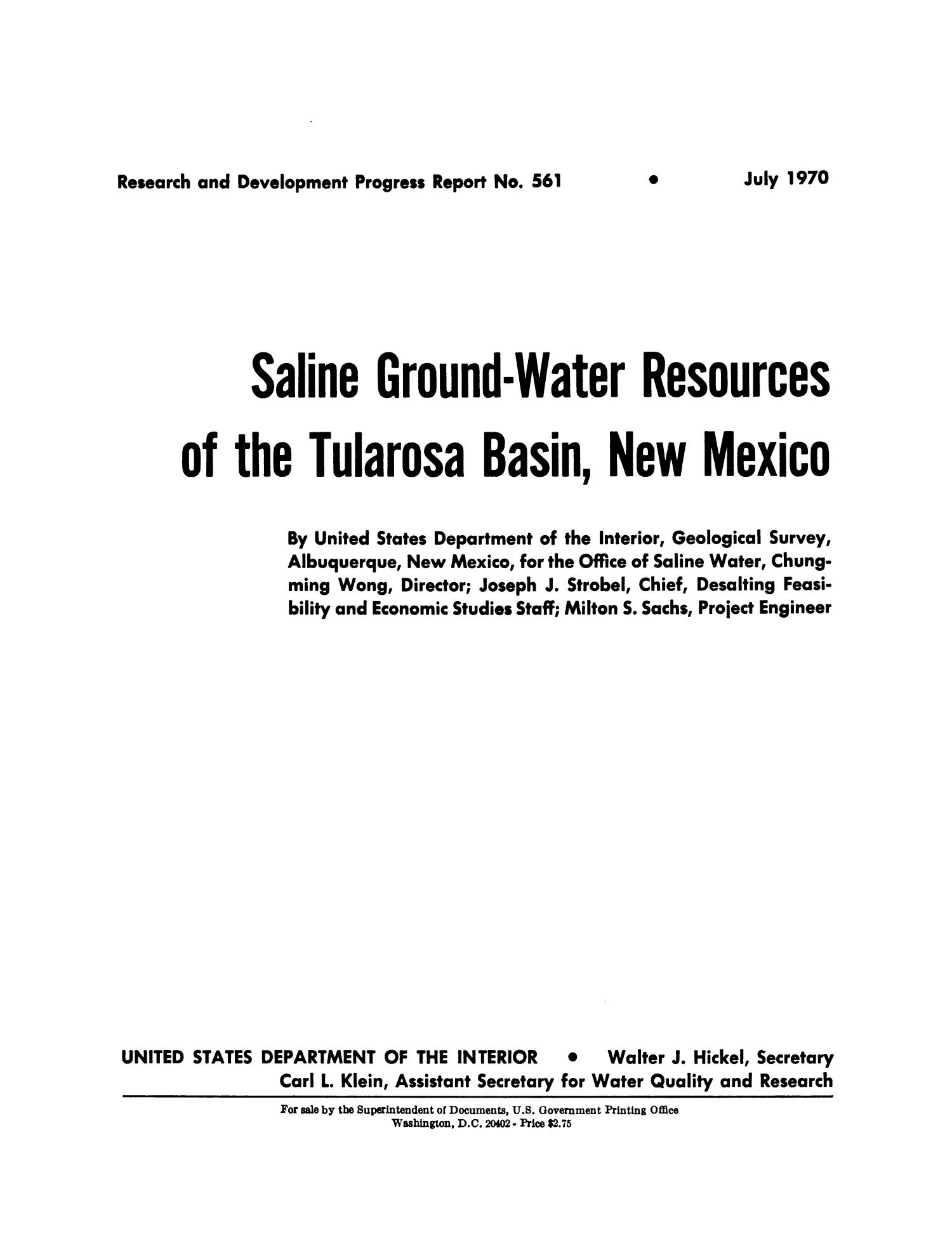 Saline Ground-Water Resources of the Tularosa Basin, New Mexico                                                                                                      II