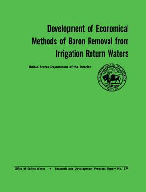 Development of Economical Methods of Boron Removal From Irrigation Return Waters