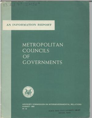 Primary view of object titled 'Metropolitan councils of governments'.
