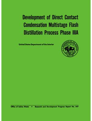 Primary view of object titled 'Development of Direct Contact Condensation Multistage Flash Distillation Process Phase IIIA'.