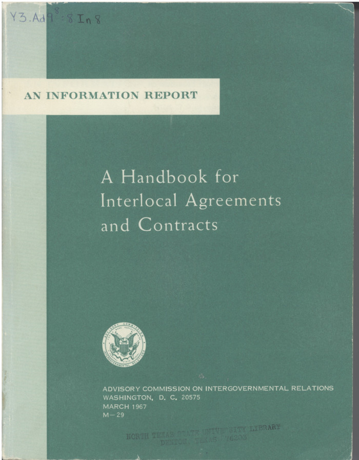 A handbook for interlocal agreements and contracts digital library primary view of object titled a handbook for interlocal agreements and contracts platinumwayz