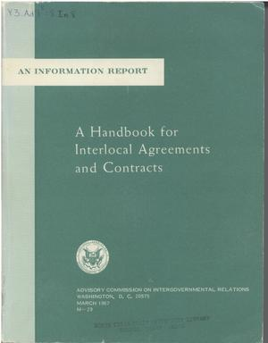 Primary view of object titled 'A handbook for interlocal agreements and contracts'.