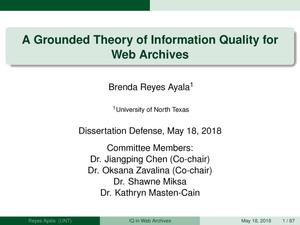 Primary view of object titled 'A Grounded Theory of Information Quality for Web Archives'.