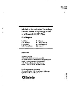 Primary view of Inhalation reproductive toxicology studies: Sperm morphology study of n-hexane in B6C3F1 mice: Final report