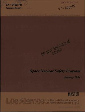 Primary view of object titled 'Space nuclear safety program. Progress report, January 1984'.