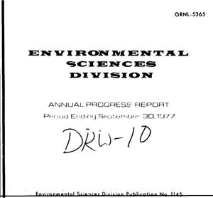 Primary view of Environmental Sciences Division annual progress report for period ending September 30, 1977. ESD Publication No. 1145