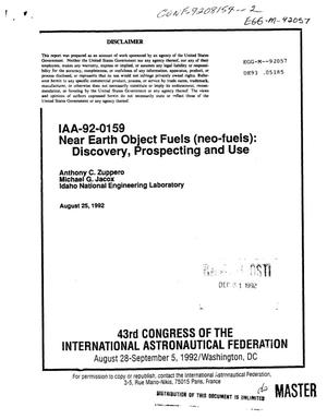 Primary view of object titled 'Near earth object fuels (neo-fuels): Discovery, prospecting and use'.