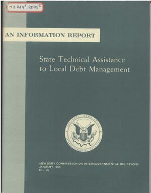 Primary view of object titled 'State technical assistance to local debt management'.