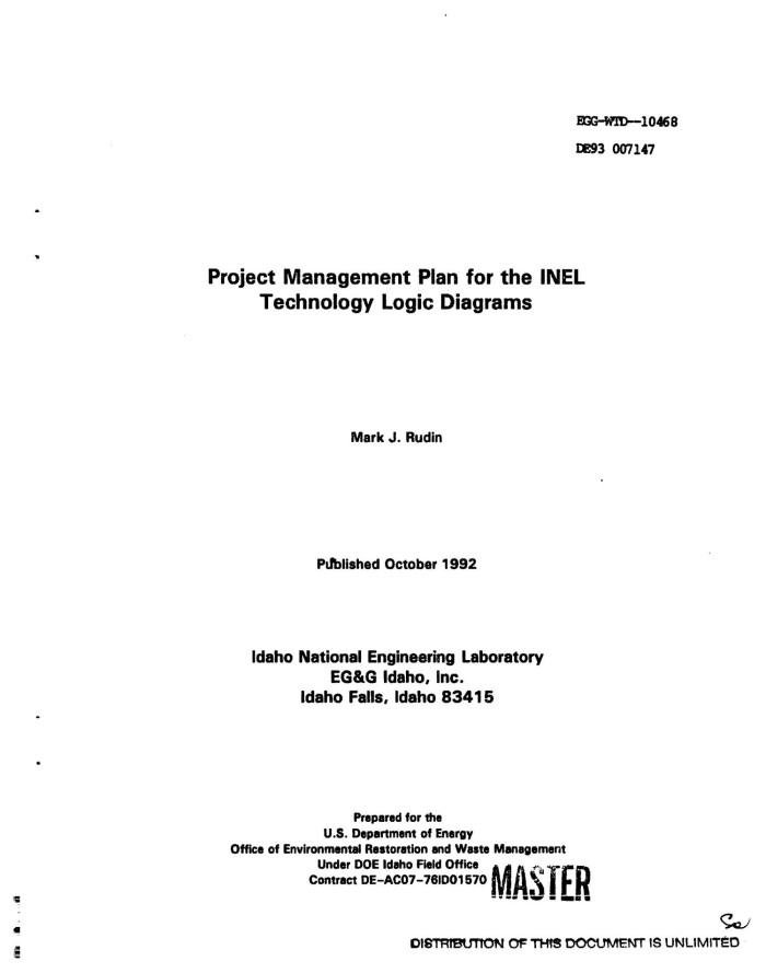Project Management Plan For The Inel Technology Logic Diagrams