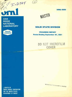 Primary view of Solid State Division progress report, September 30, 1981