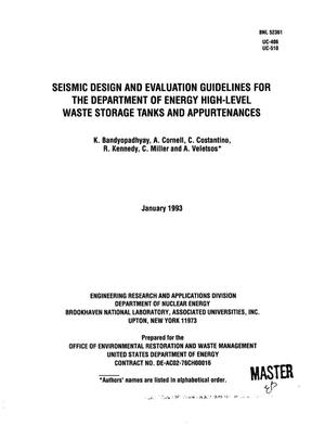Primary view of Seismic design and evaluation guidelines for the Department of Energy high-level waste storage tanks and appurtenances