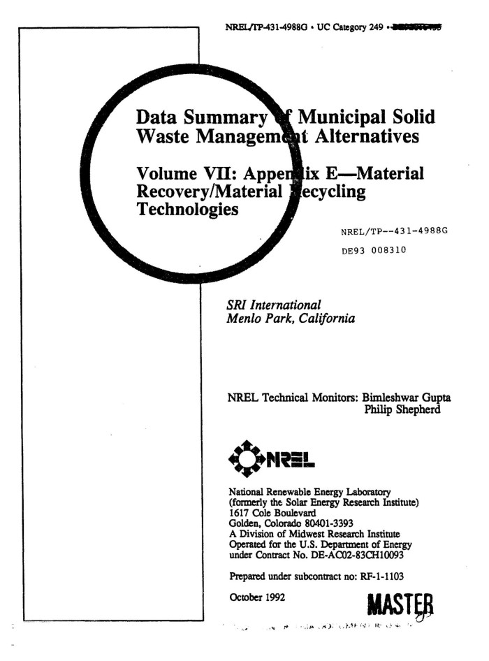 Data Summary of Municipal Solid Waste Management