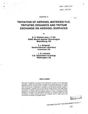 Primary view of object titled 'Tritiation of aerogel matrices: T sub 2 O, tritiated organics and tritium exchange on aerogel surfaces'.