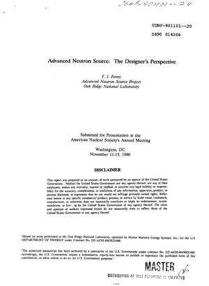 Primary view of object titled 'Advanced Neutron Source: The designer's perspective'.