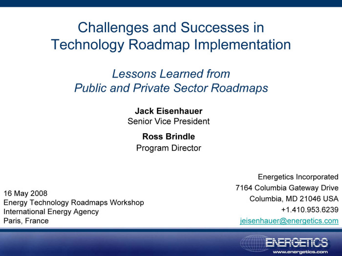 challenges and successes in technology roadmap implementation lessons learned from public and private sector roadmaps