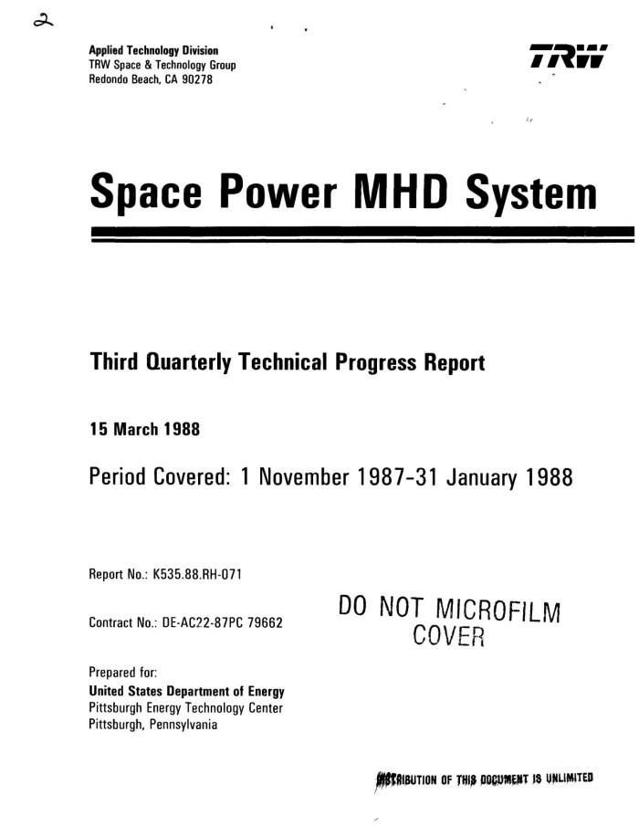 Space Power MHD (magnetohydrodynamic) System: Third