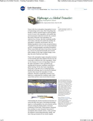 Highways of a Global Traveler: Tracking Tropospheric Ozone