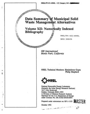 Primary view of object titled 'Data Summary of Municipal Solid Waste Management Alternatives, Volume 12: Numerically Indexed Bibliography'.