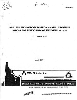 Primary view of Nuclear Technology Division annual progress report for period ending September 30, 1976