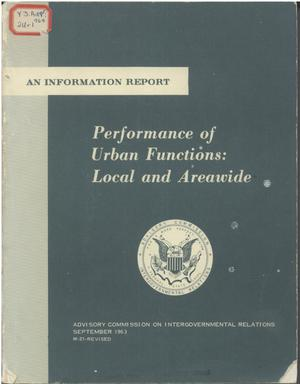 Primary view of object titled 'Performance of urban functions : local and areawide'.