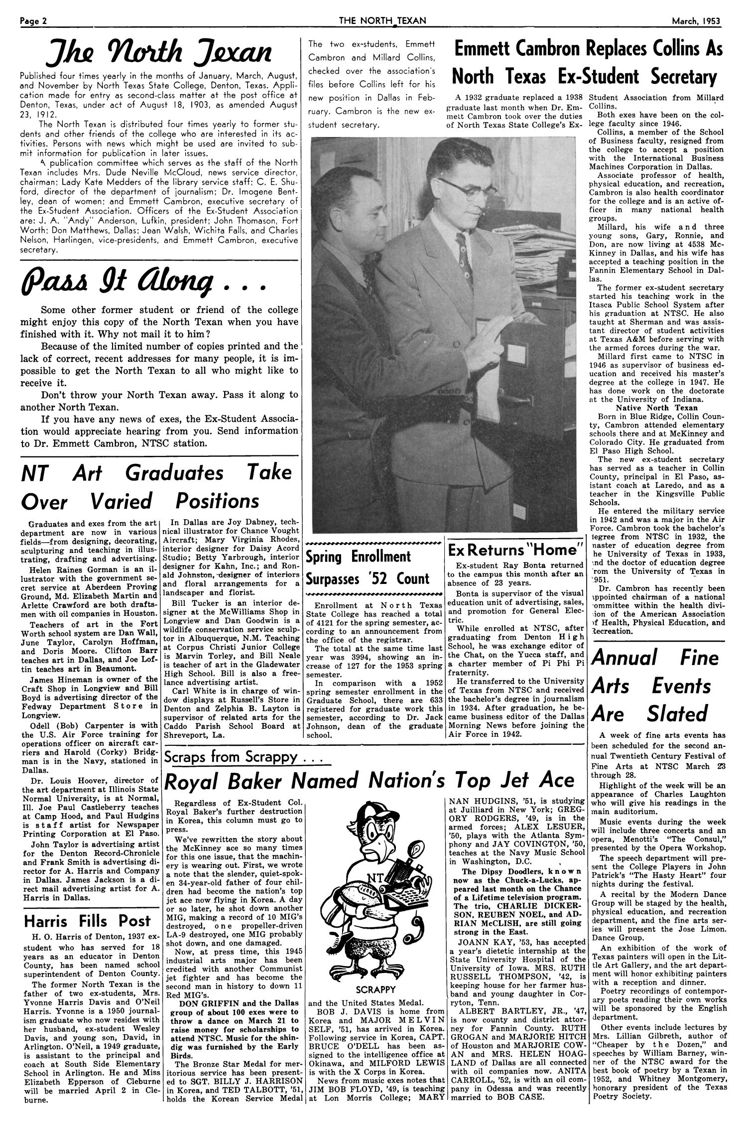 The North Texan, Volume 4, Number 3, March 1953                                                                                                      2