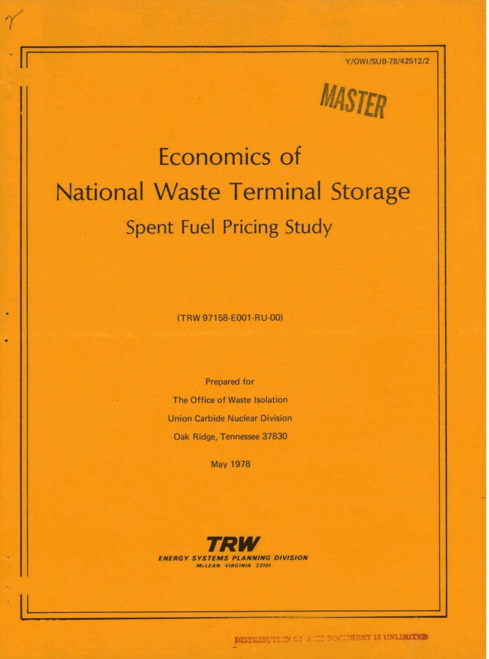 Economics of National Waste Terminal Storage Spent Fuel Pricing