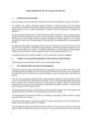 Primary view of object titled 'Draft Report of the 26th Session of the IPCC'.