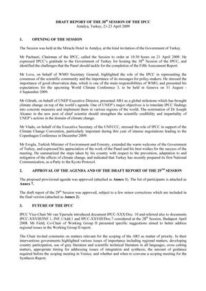 Primary view of object titled 'Draft Report of the 30th Session of the IPCC'.