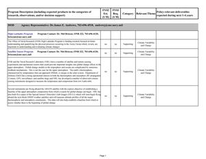 Climate and Global Change Interagency Inventory Data Sheet