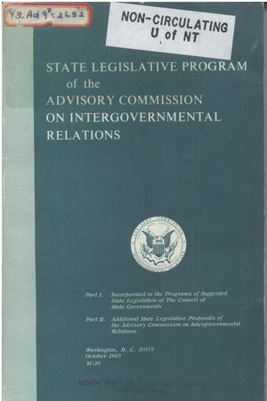 Primary view of object titled '1963 State legislative program of the Advisory Commission on Intergovernmental Relations'.