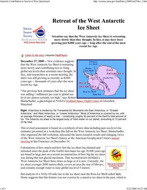 Primary view of object titled 'Retreat of the West Antarctic Ice Sheet'.
