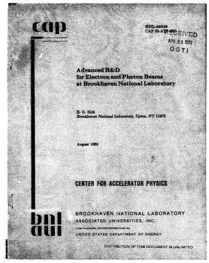 Primary view of Advanced R D for electron and photon beams at Brookhaven National Laboratory