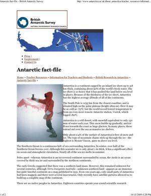 Primary view of object titled 'Antarctic fact-file'.