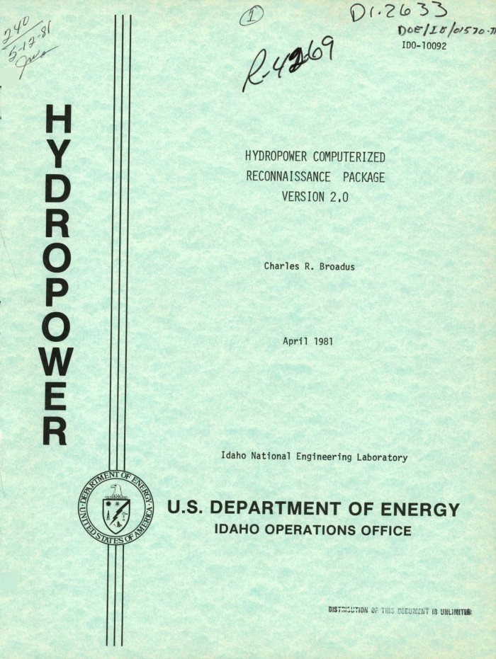 Hydropower computerized reconnaissance package version 2  0  [HYDRO