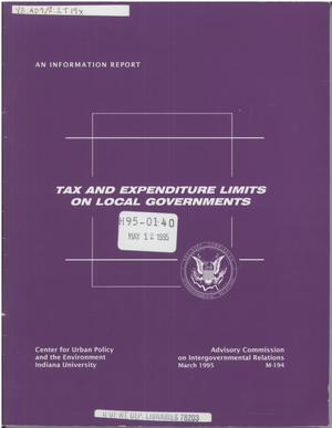 Primary view of object titled 'Tax and expenditure limits on local governments'.
