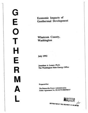 Primary view of object titled 'Geothermal : Economic Impacts of Geothermal Development in Whatcom County, Washington.'.