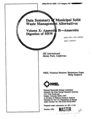 Primary view of object titled 'Data Summary of Municipal Solid Waste Management Alternatives, Volume 10: Appendix H--Anaerobic Digestion of MSW'.
