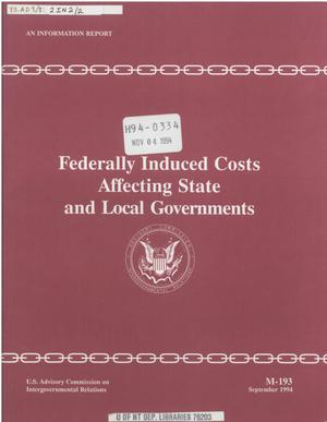 Primary view of object titled 'Federally induced costs affecting state and local governments'.