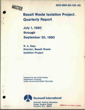 Primary view of Basalt Waste Isolation Project. Quarterly report, July 1, 1980-September 30, 1980